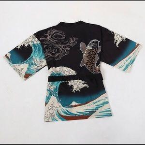 Sweaters - Japanese Themed Wave Kimono